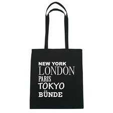 New York, London, Paris, Tokyo -CORDE - Borsa di iuta Borsa - colore: Nero