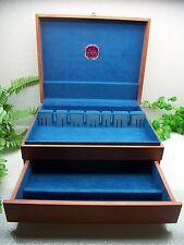 Vtg NAKENS Sterling Silverplate Flatware Wooden Wood Storage Chest Case Box 16+