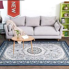 Floor Rug NOLAN Blue Traditional Mat Distressed Carpet Extra Large 4 Sizes