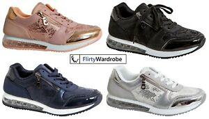 Trainers Shoes Gym Running Shock Air Absorbing Sole Sports Snake Sequin Womens