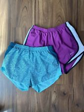 Nike Dri-Fit Womens Lined Running Shorts Lot Of 2 Preowned Size XS Pur/Grn