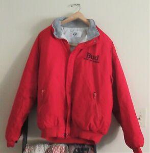 """Vintage BUDWEISER RED COAT / JACKET --- """"KING OF BEERS""""  sz Large ?"""