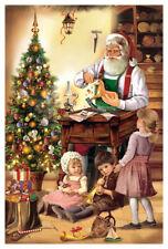 """Adventskalender Karte """"Schnitzerei"""" Weihnachtsmann, mit Umschlag, Glimmer"""