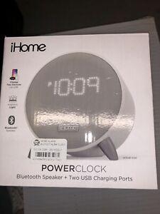 iHome iBT235W PowerClock Bluetooth Alarm Clock Speaker & 2 USB charging ports