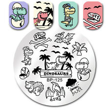 BORN PRETTY Round Nail Art Stamp Template Dinosaurs Design Image Manicure Plate