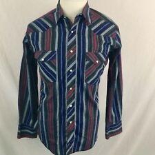 VTG Wrangler Pearl Snap Button Shirt Large Western Rockabilly Long Sleeve 90s