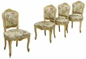 Antique Chairs,Gilt Side, Italian Rococo Revival Parcel, Set of Four, 1800's!!