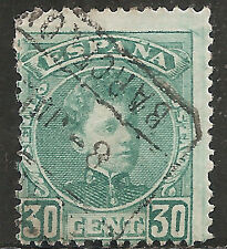 "Spain Stamp - Scott #280/A35 30c Deep Green ""King Alfonso XIII"" Used/LH 1901"