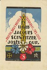 EX-LIBRIS JACQUES SCHWEITZER & JOSÉE GUR GRAVÉ PAR CHARLES FAVET (1899-1982)