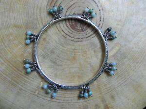Brighton~Silver Bangle Bracelet with Amazonite & Turquoise dangle Beads Retired