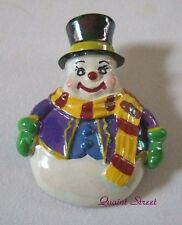 PREMIER DESIGNS Uncle Snowman Christmas Pin colorful frosty top hat iridescent