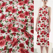 Red rose print floral design 100% pure silk Georgette Crepe silk fabric,SCG077