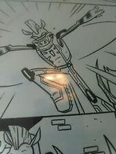 TMNT comic original art LOOK !! Turtles trapped while Bebop and Rahzar battle!!