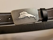 Tommy Bahama Mens Black Leather Belt with Metal Embossed Marlin Logo Buckle 32