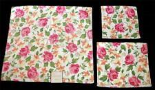 3-Pc Laura Ashley Shabby Roses Plush Velour Bath, Hand Towel & Wash Cloth NWT