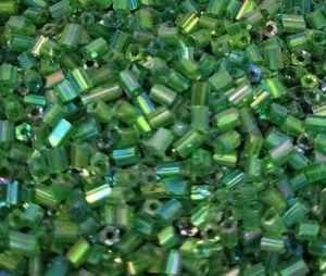 4oz ~10,000 pcs Iridescent Green Iris 2-Cut Glass Size 10/0 #1 Bugle Beads 2mm
