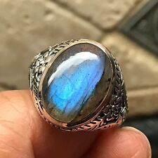 Natural Blue Iridescence Labradorite 925 Solid Sterling Silver Men's Ring 9.75