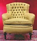 Turkish Tufted Chair Over Stuffed Beige Brown Gold Tones Vintage RARE TO FIND