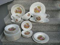 SERVICE à TABLE 6 PERSONNES 32 Pièces Porcelaine FRAGONARDS filet or