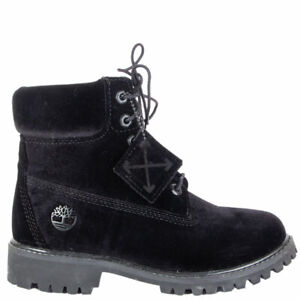 62781 auth OFF-WHITE X TIMBERLAND black velvet Ankle Boots Shoes 37