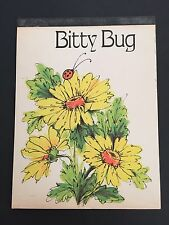 """Vintage Notepad Paper BITTY BUG Stationary 6x8"""" Yellow Flower LadyBug 60's-70's"""