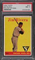 1958 Topps BB Card # 11 Jim Rivera Chicago White Sox YELLOW TEAM PSA NM 7 !!!