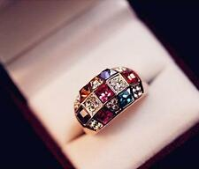 2015 Luxury Women Colourful Rhinestone Crystal Finger Dazzling Ring Jewelry