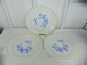 Set of 3 Fire King Termocrisa Mexico Milk Glass Blue Floral Dinner Plates
