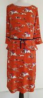 Leona Edmiston Ruby Orange/Navy Stretch Knit Scenery Print Dress Size 1