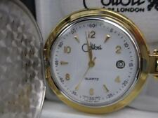 COLIBRI WHITE FACE GOLD & SILVER TONE POCKET WATCH ENGRAVEABLE SHIELD WITH DATE