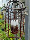 Rare Pagoda Hollywood Regency faux bamboo lantern Chandelier midcentury tolmware