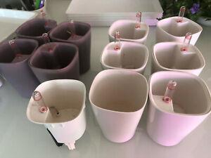 Lot of Ten Lechuza Self-Watering Mini Deltini Pots, Mauve and White