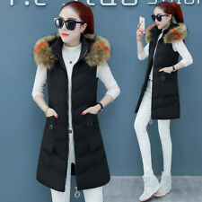 New Women Down Cotton Vest Warm Fur Hooded Jacket Long Waistcoat Cotton Coat