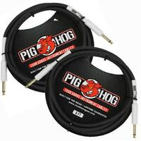 "2-Pack PIG HOG 6 foot ft 1/4"" STRAIGHT GUITAR INSTRUMENT CABLE PH6 PigHog Gold"
