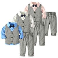 4PC Toddler Baby Boy Bowtie Gentleman Vest T-Shirt Pants Wedding Suit Outfit Set