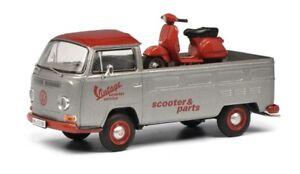 Schuco 03330 - 1/43 Volkswagen / VW T2a Pritsche - Vintage Scooter - Neu