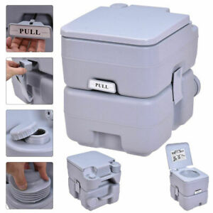 Large Mobile Camping Toilet Portable Travel Chemical WC Loo Outdoor Handle Grey