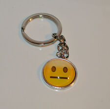 Blank Face Emoticon Smiley Silver tone metal Keychain Purse Book bag Charm