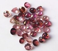 100 PIECES 2X2 MM ROUND NATURAL PINK TOURMALINE WHOLESALE LOT LOOSE GEMSTONES