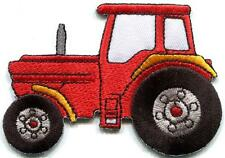 Tractor crawler plow farm truck red embroidered applique iron-on patch S-1351