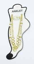 Rhinestones & Bonus Toe Ring #A113 New Gold Double Stranded Anklet with