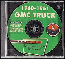 1960-1961 GMC Truck Shop Manual CD-ROM 1000-5000 Pickup Suburban Panel Repair