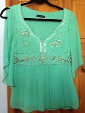 STUNNING COAST MINT GREEN 100% SILK TOP WITH BUGLE BEAD DETAIL BIG SZE10(12)