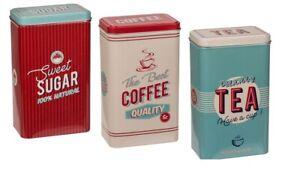 Rectangulaire Rangement Métal Rétro Café Thé Sucre Boîtes Set 3 Vintage Design