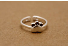 Solid 925 Sterling Silver Cat Kitten Kitty Red Paw Print Open Band Ring Gift