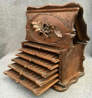 Large antique german black forest cigar cellar box early 1900's woodwork 5lb