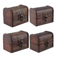 2015 Vintage Mini Metal Lock Jewelry Treasure Chest Case Handmade Wooden Box GN