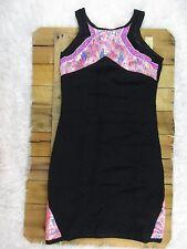Ladakh womens Small Black and Neon Metallic High Neck Aztec Print Dress NWT $115