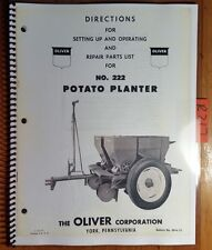Oliver 222 Potato Planter Operator & Setting Up & Repair Parts List Book Manual