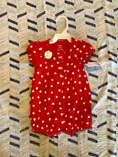 Baby Girl Romper Carters Sz 6 Month New Red Hearts Shorts Summer